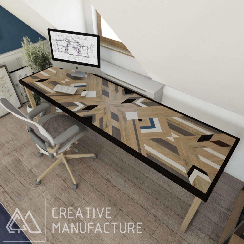 antresola - geometryczne drewniane biurko