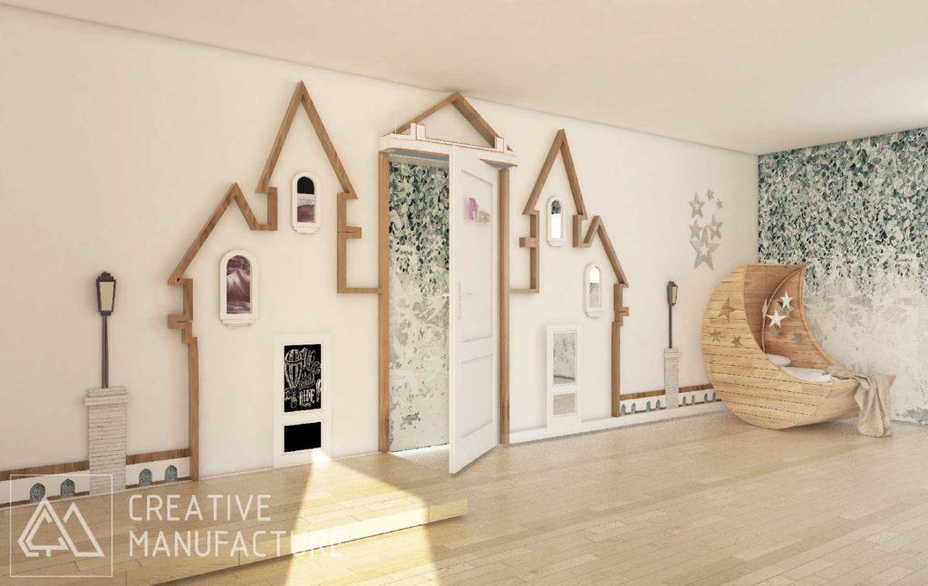 pokój księżniczki, drewniany zamek