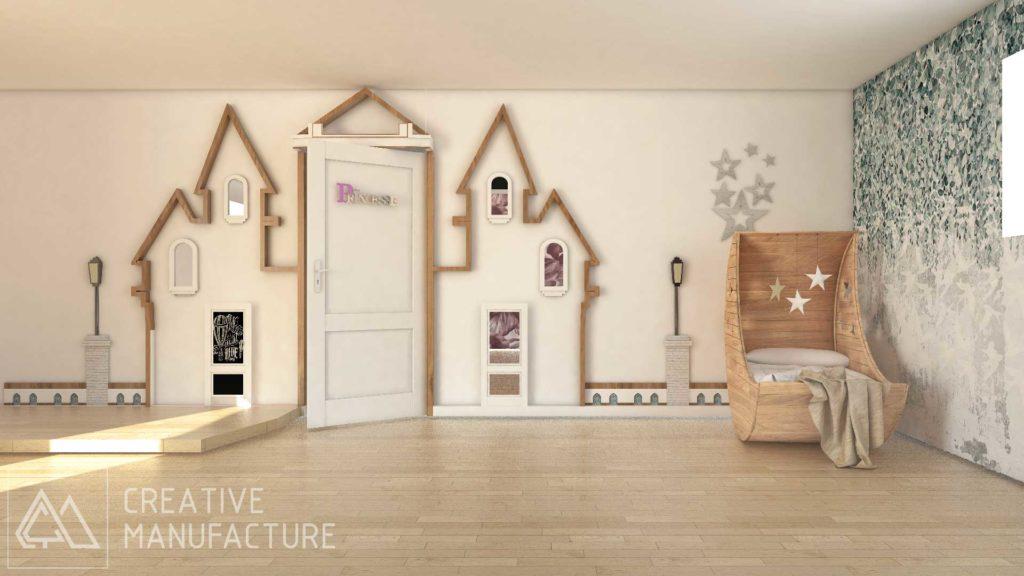 Pokój dziecięcy - drewniana zabudowa w kształcie zamku