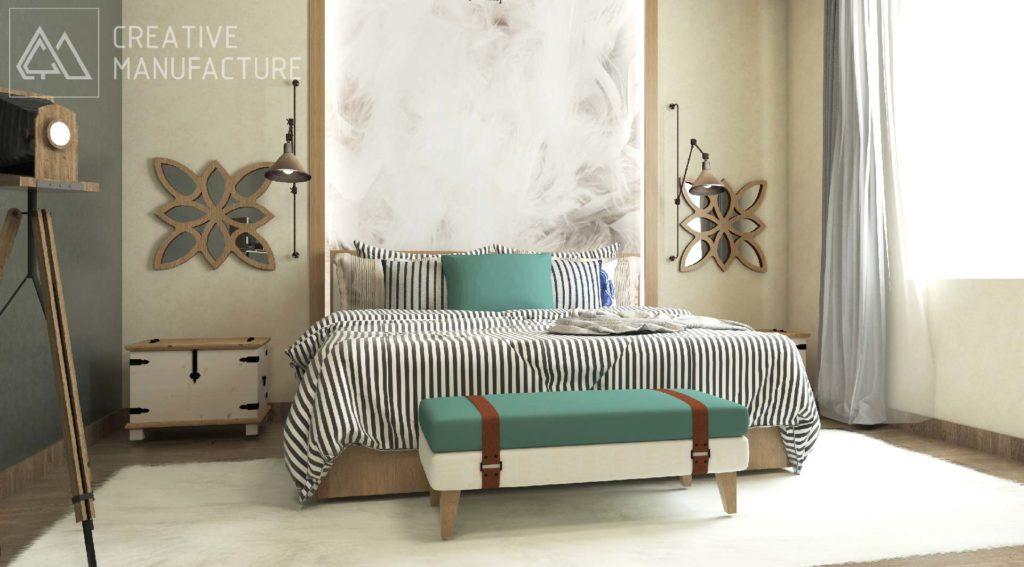 sypialnia - podświetlane wezgłowie , designerskie lustra