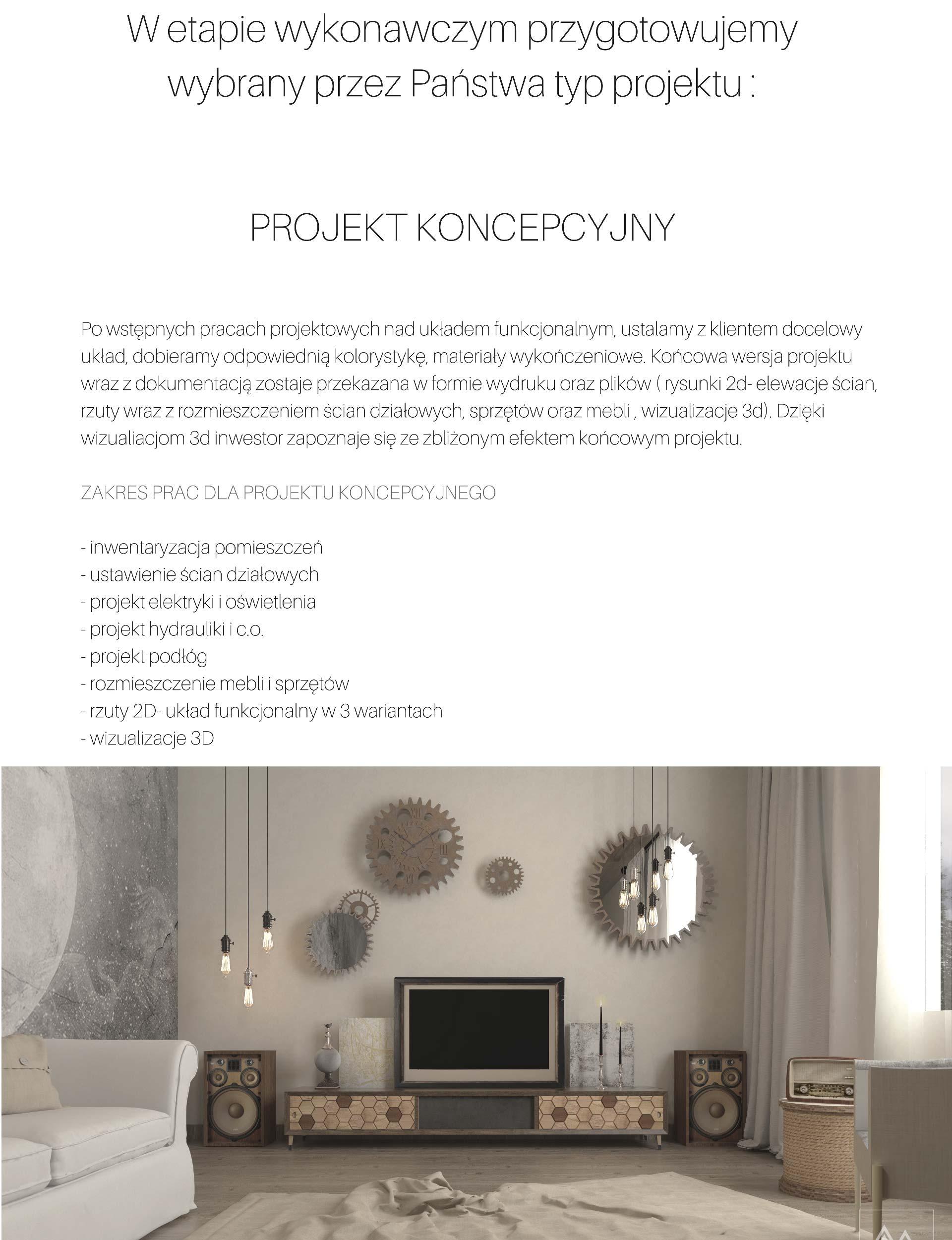 Oferta - szczegółowe informacje dotyczące zakresu projektu koncepcyjnego